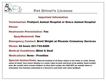 Back of a sample pet driver's license